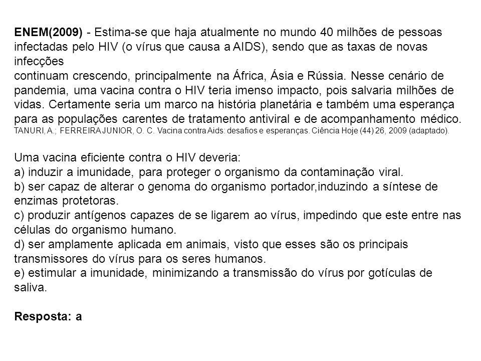 ENEM(2009) - Estima-se que haja atualmente no mundo 40 milhões de pessoas infectadas pelo HIV (o vírus que causa a AIDS), sendo que as taxas de novas