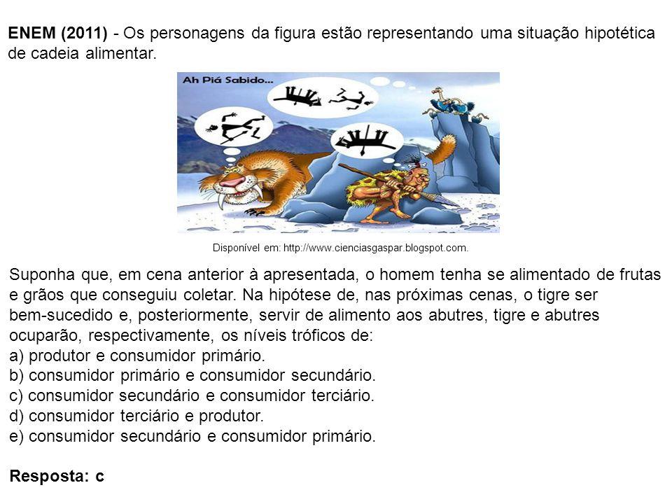 ENEM (2011) - Os personagens da figura estão representando uma situação hipotética de cadeia alimentar. Suponha que, em cena anterior à apresentada, o