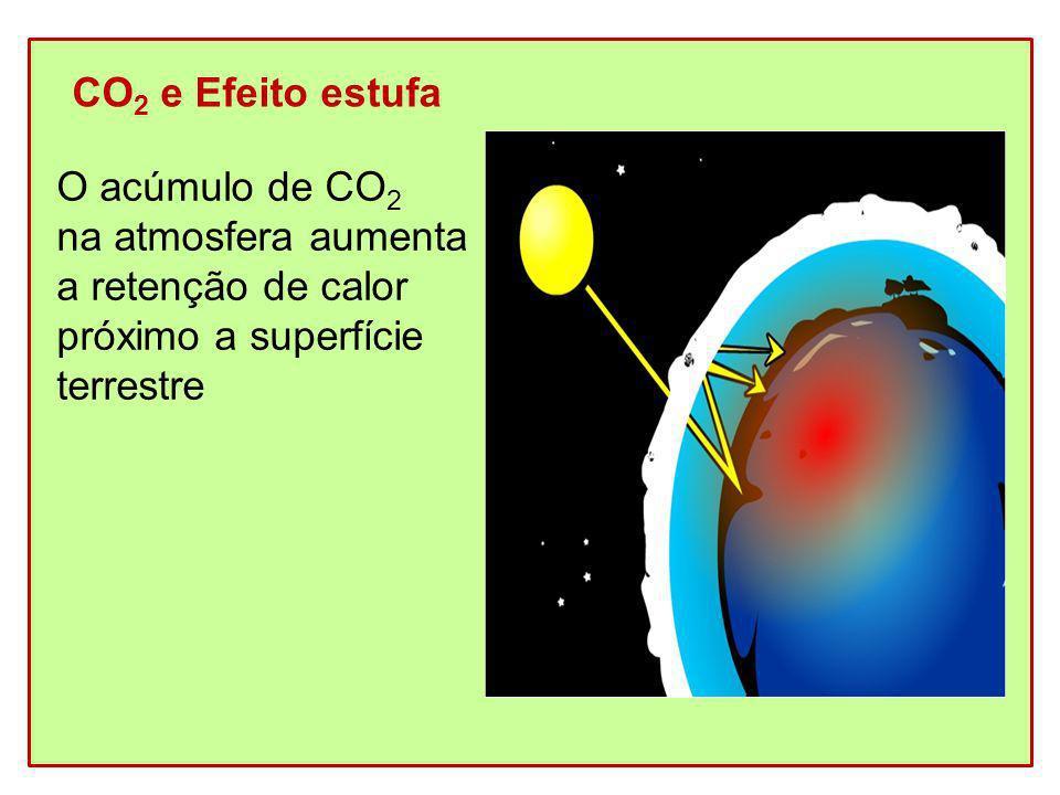CO 2 e Efeito estufa O acúmulo de CO 2 na atmosfera aumenta a retenção de calor próximo a superfície terrestre