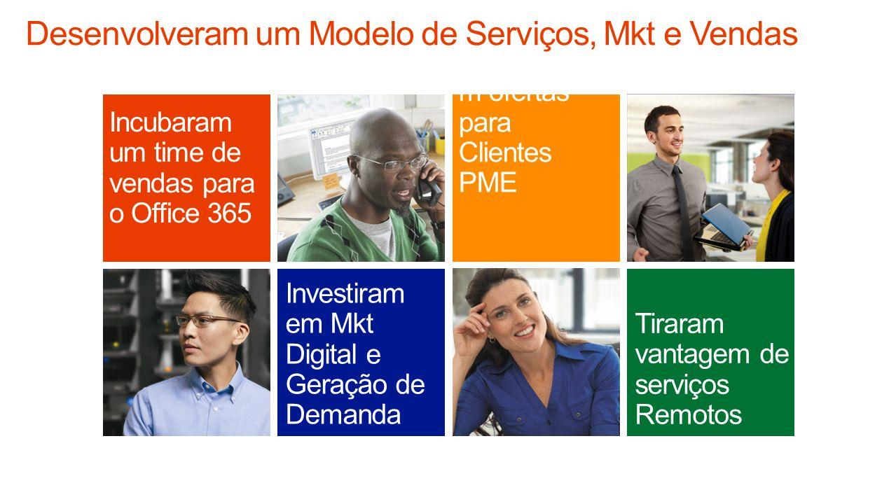 Investiram em Mkt Digital e Geração de Demanda Tiraram vantagem de serviços Remotos Incubaram um time de vendas para o Office 365 Alavancara m ofertas