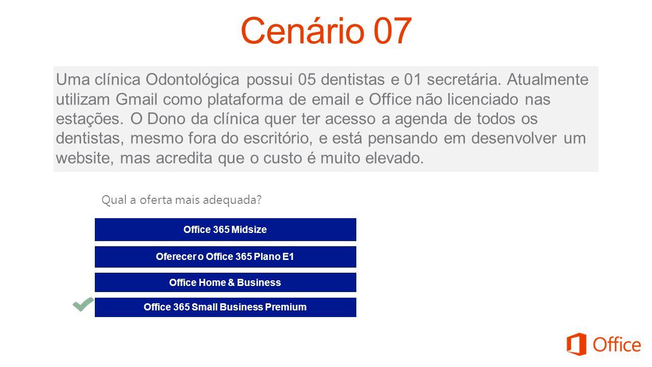 Uma clínica Odontológica possui 05 dentistas e 01 secretária. Atualmente utilizam Gmail como plataforma de email e Office não licenciado nas estações.