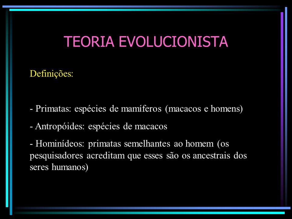 TEORIA EVOLUCIONISTA Definições: - Primatas: espécies de mamíferos (macacos e homens) - Antropóides: espécies de macacos - Hominídeos: primatas semelh