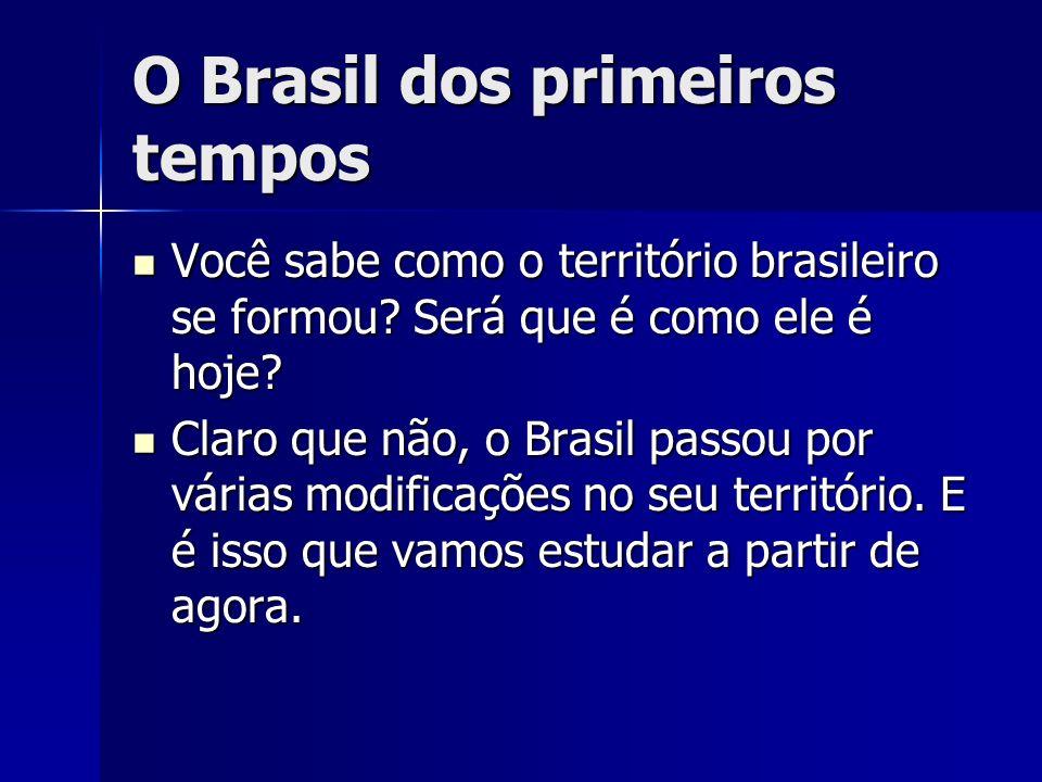 O Brasil dos primeiros tempos Você sabe como o território brasileiro se formou? Será que é como ele é hoje? Você sabe como o território brasileiro se