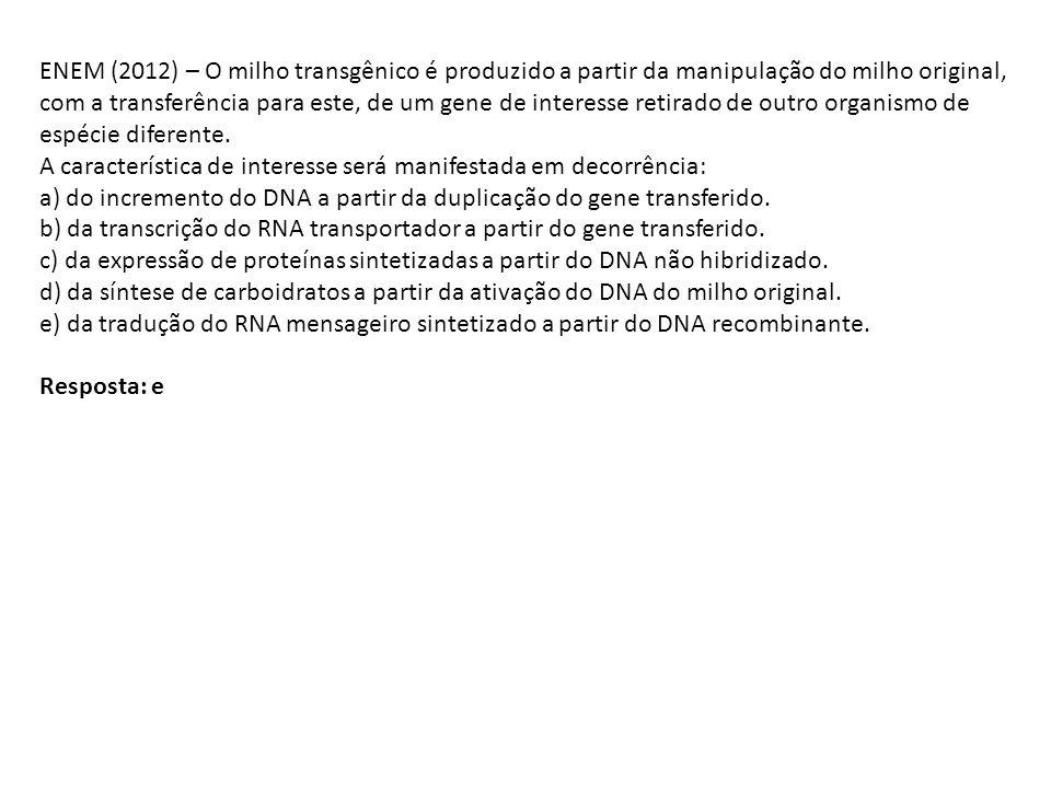 ENEM (2012) – O milho transgênico é produzido a partir da manipulação do milho original, com a transferência para este, de um gene de interesse retira