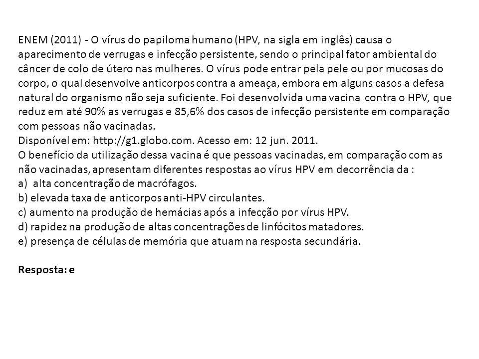 ENEM (2011) - O vírus do papiloma humano (HPV, na sigla em inglês) causa o aparecimento de verrugas e infecção persistente, sendo o principal fator am