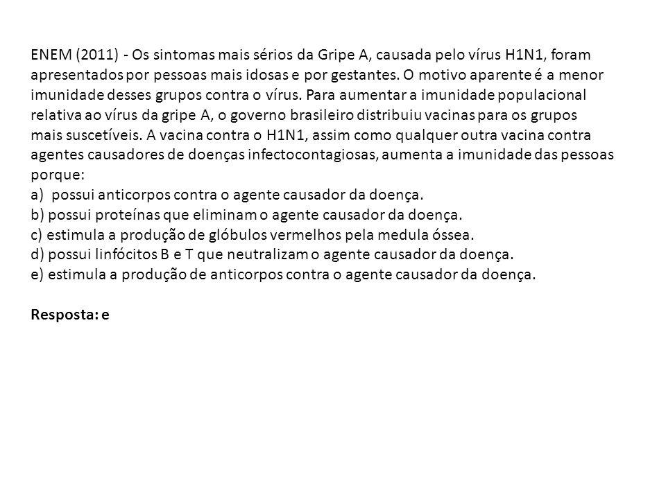 ENEM (2011) - Os sintomas mais sérios da Gripe A, causada pelo vírus H1N1, foram apresentados por pessoas mais idosas e por gestantes. O motivo aparen