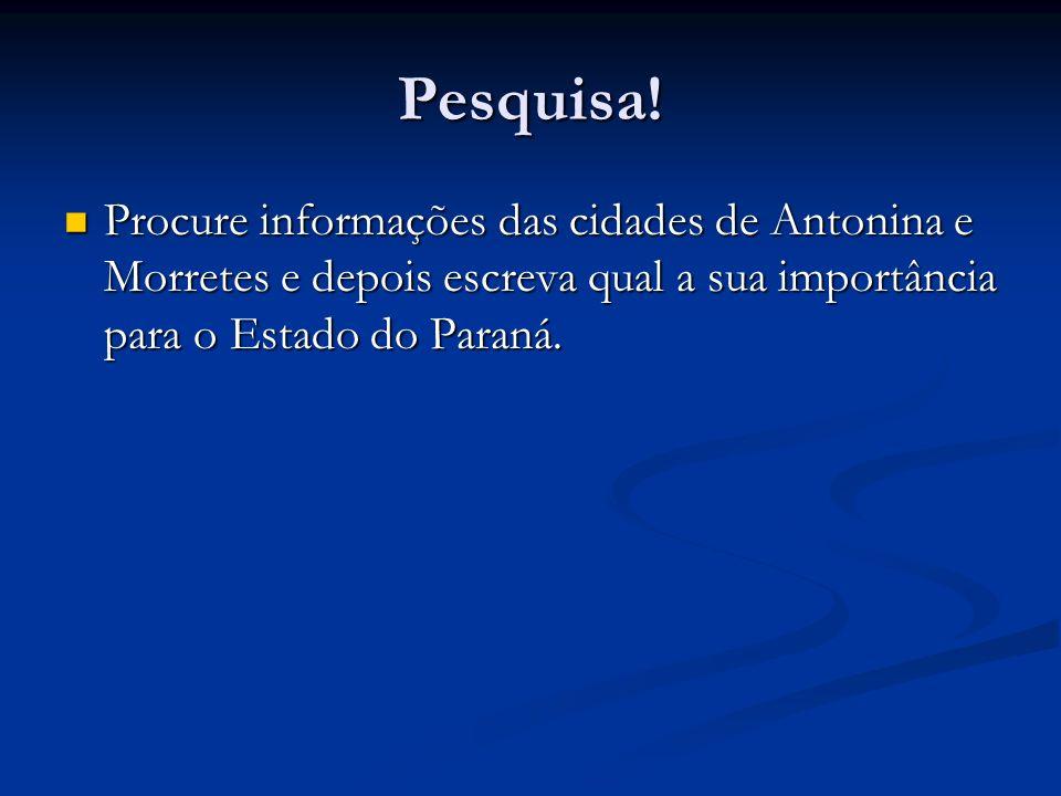 Pesquisa! Procure informações das cidades de Antonina e Morretes e depois escreva qual a sua importância para o Estado do Paraná. Procure informações