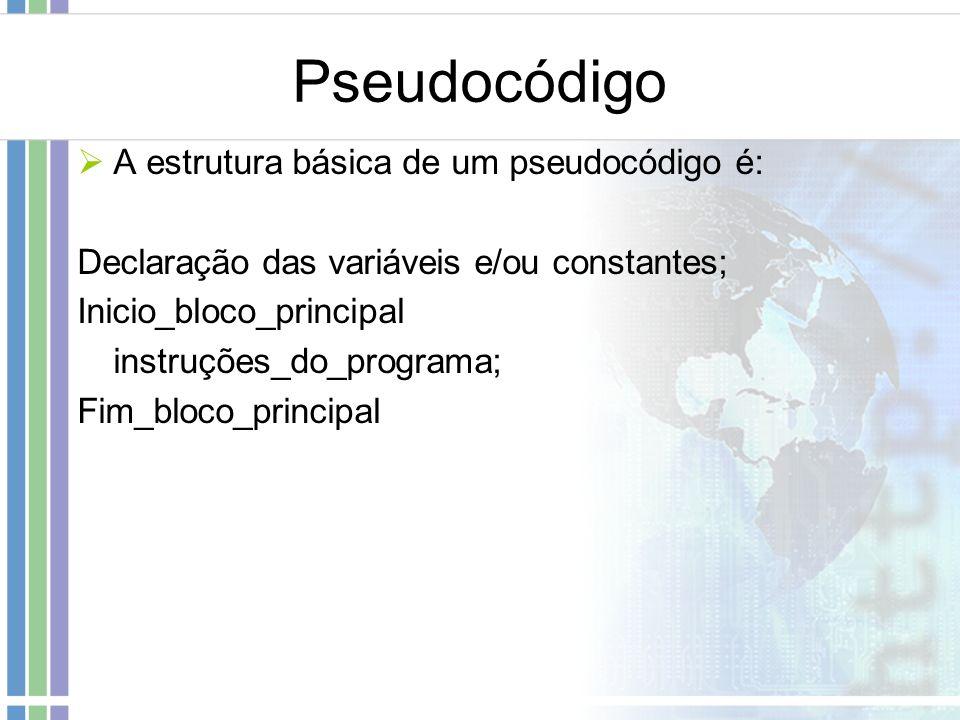 Pseudocódigo A estrutura básica de um pseudocódigo é: Declaração das variáveis e/ou constantes; Inicio_bloco_principal instruções_do_programa; Fim_blo