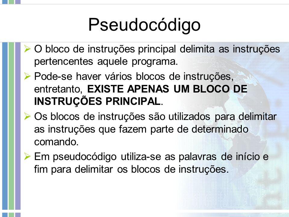 Pseudocódigo O bloco de instruções principal delimita as instruções pertencentes aquele programa. Pode-se haver vários blocos de instruções, entretant