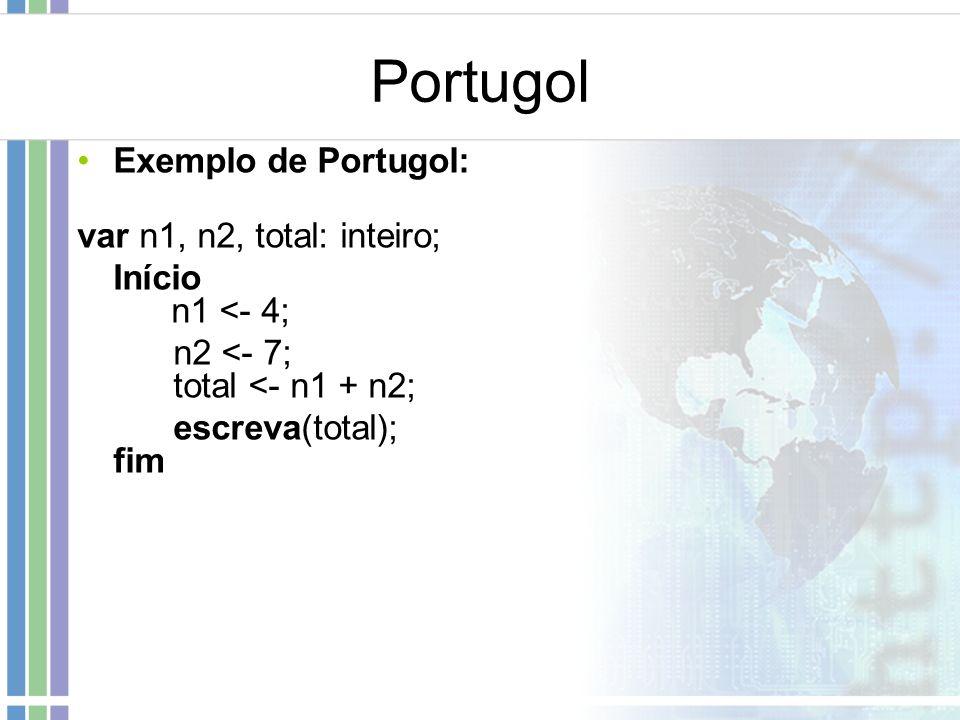Portugol Exemplo de Portugol: var n1, n2, total: inteiro; Início n1 <- 4; n2 <- 7; total <- n1 + n2; escreva(total); fim