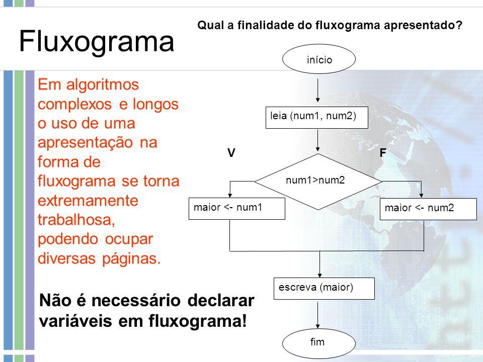 Fluxograma início leia (num1, num2) num1>num2 maior <- num1 maior <- num2 escreva (maior) fim Em algoritmos complexos e longos o uso de uma apresentaç