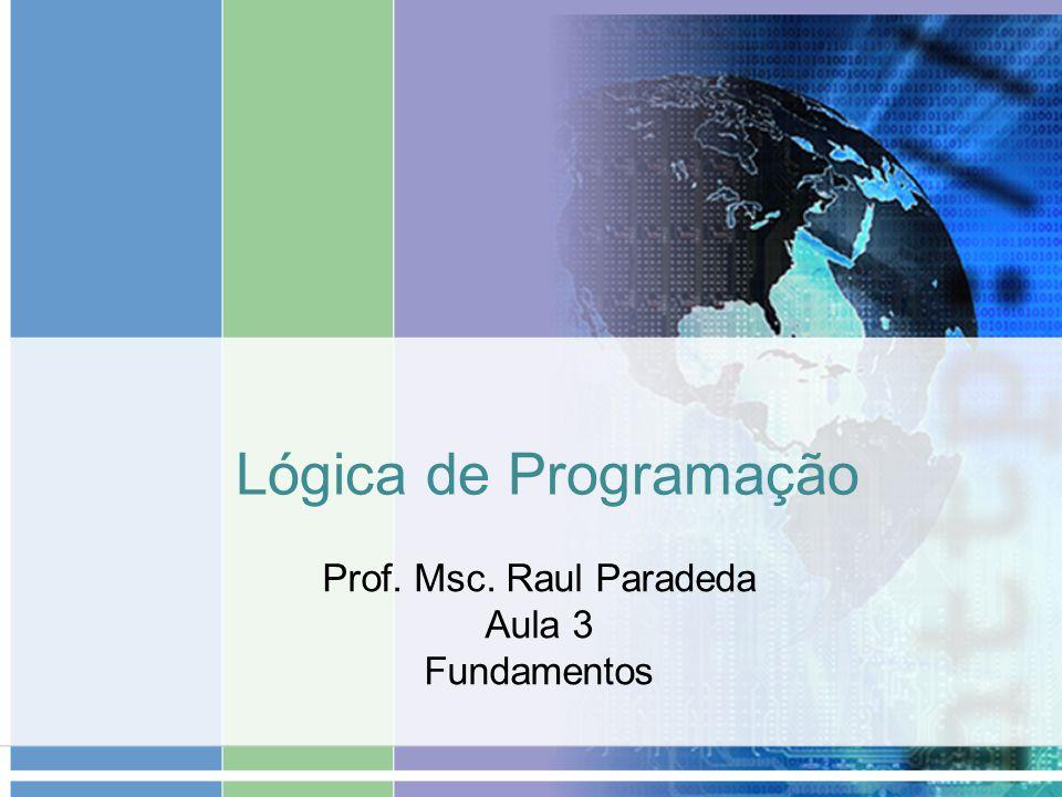 Lógica de Programação Prof. Msc. Raul Paradeda Aula 3 Fundamentos