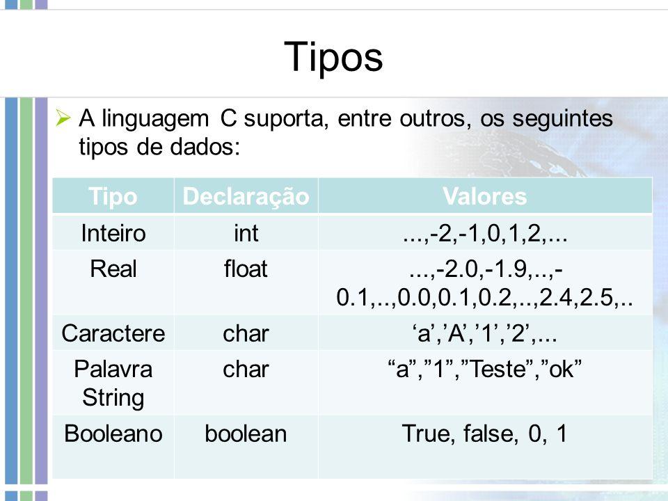 Tipos A linguagem C suporta, entre outros, os seguintes tipos de dados: TipoDeclaraçãoValores Inteiroint...,-2,-1,0,1,2,... Realfloat...,-2.0,-1.9,..,