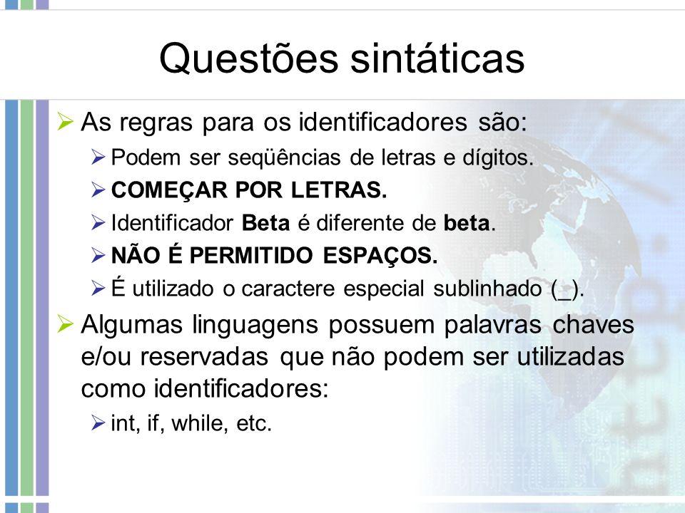 Questões sintáticas As regras para os identificadores são: Podem ser seqüências de letras e dígitos. COMEÇAR POR LETRAS. Identificador Beta é diferent