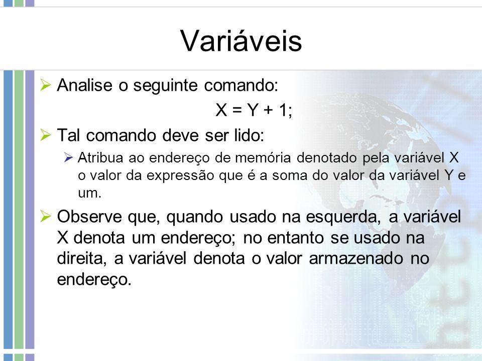 Variáveis Analise o seguinte comando: X = Y + 1; Tal comando deve ser lido: Atribua ao endereço de memória denotado pela variável X o valor da express