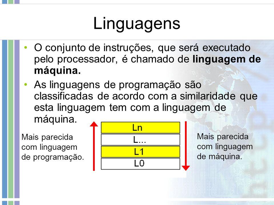 Linguagens O conjunto de instruções, que será executado pelo processador, é chamado de linguagem de máquina. As linguagens de programação são classifi