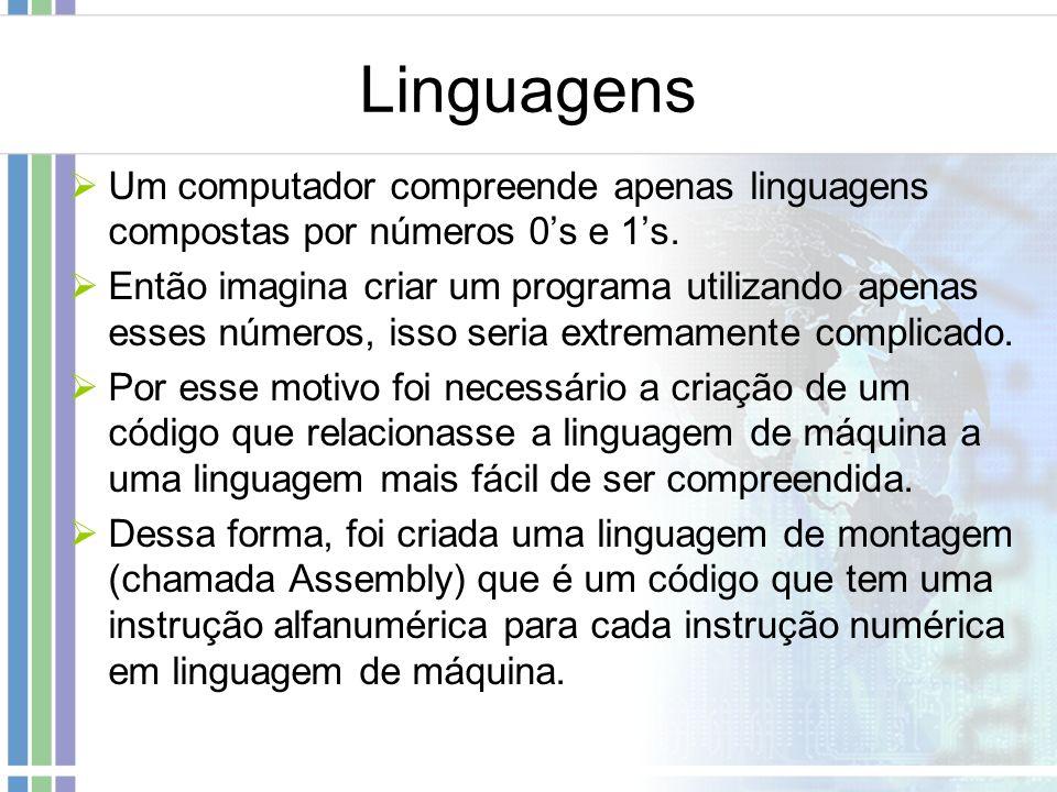 Linguagens Um computador compreende apenas linguagens compostas por números 0s e 1s. Então imagina criar um programa utilizando apenas esses números,