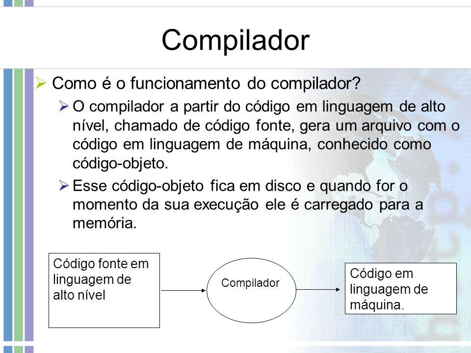 Compilador Como é o funcionamento do compilador? O compilador a partir do código em linguagem de alto nível, chamado de código fonte, gera um arquivo