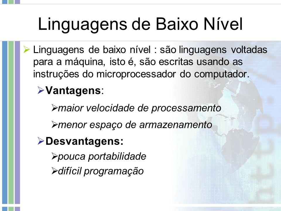 Linguagens de Baixo Nível Linguagens de baixo nível : são linguagens voltadas para a máquina, isto é, são escritas usando as instruções do microproces