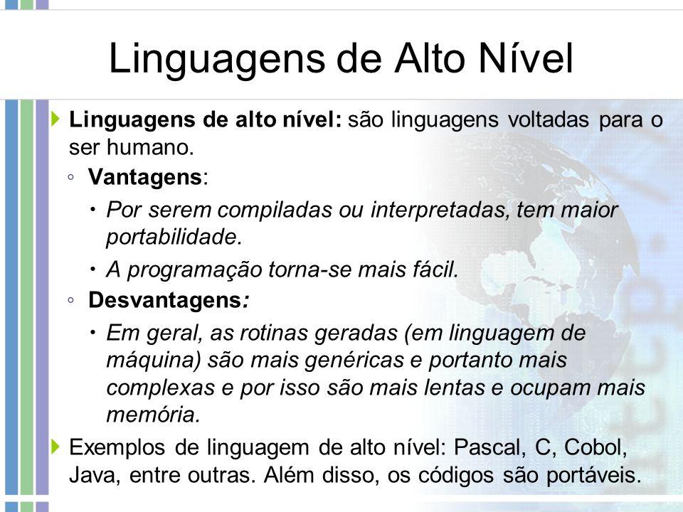Linguagens de Alto Nível Linguagens de alto nível: são linguagens voltadas para o ser humano. Vantagens: Por serem compiladas ou interpretadas, tem ma
