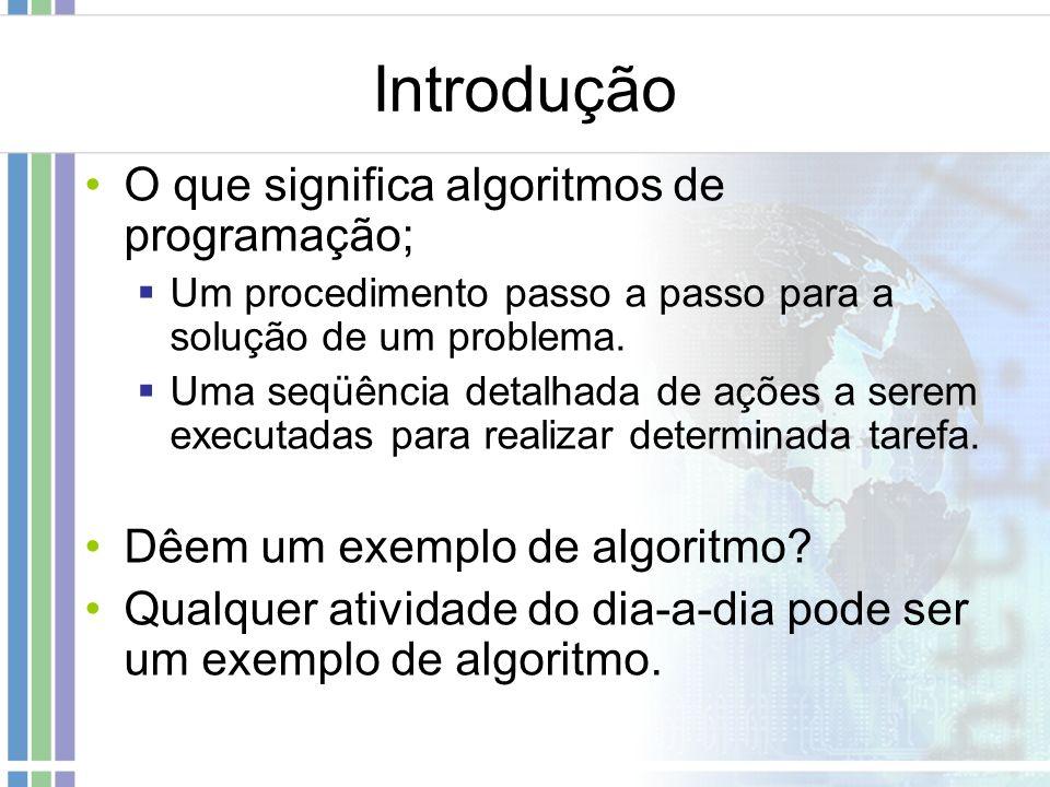 Introdução O que significa algoritmos de programação; Um procedimento passo a passo para a solução de um problema. Uma seqüência detalhada de ações a
