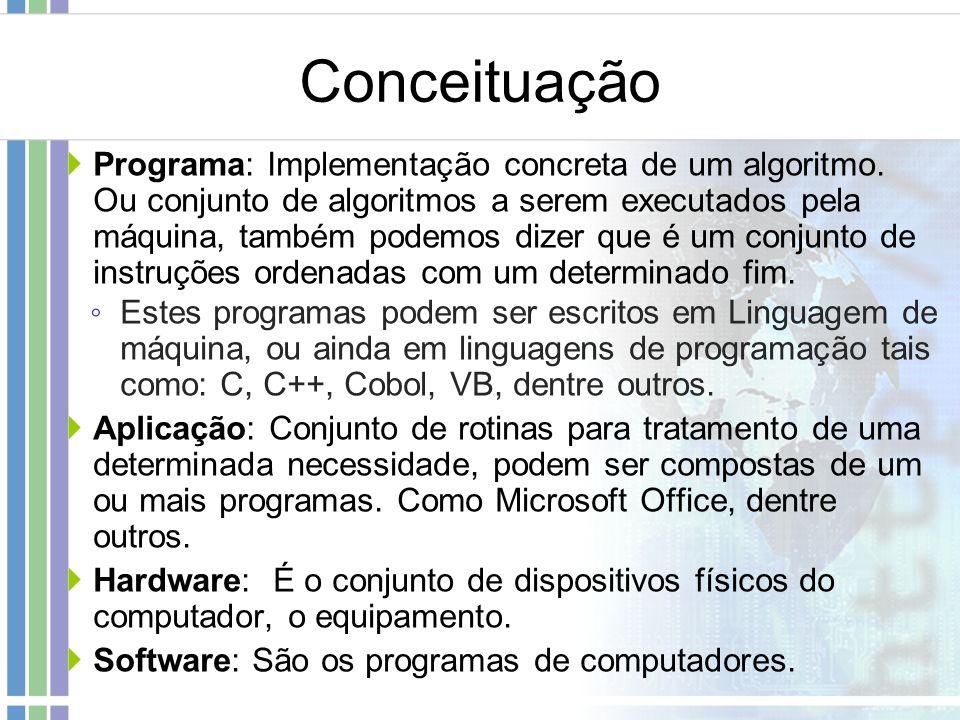 Conceituação Programa: Implementação concreta de um algoritmo. Ou conjunto de algoritmos a serem executados pela máquina, também podemos dizer que é u