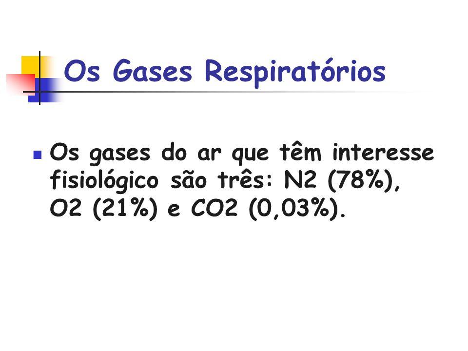 Os Gases Respiratórios Os gases do ar que têm interesse fisiológico são três: N2 (78%), O2 (21%) e CO2 (0,03%).