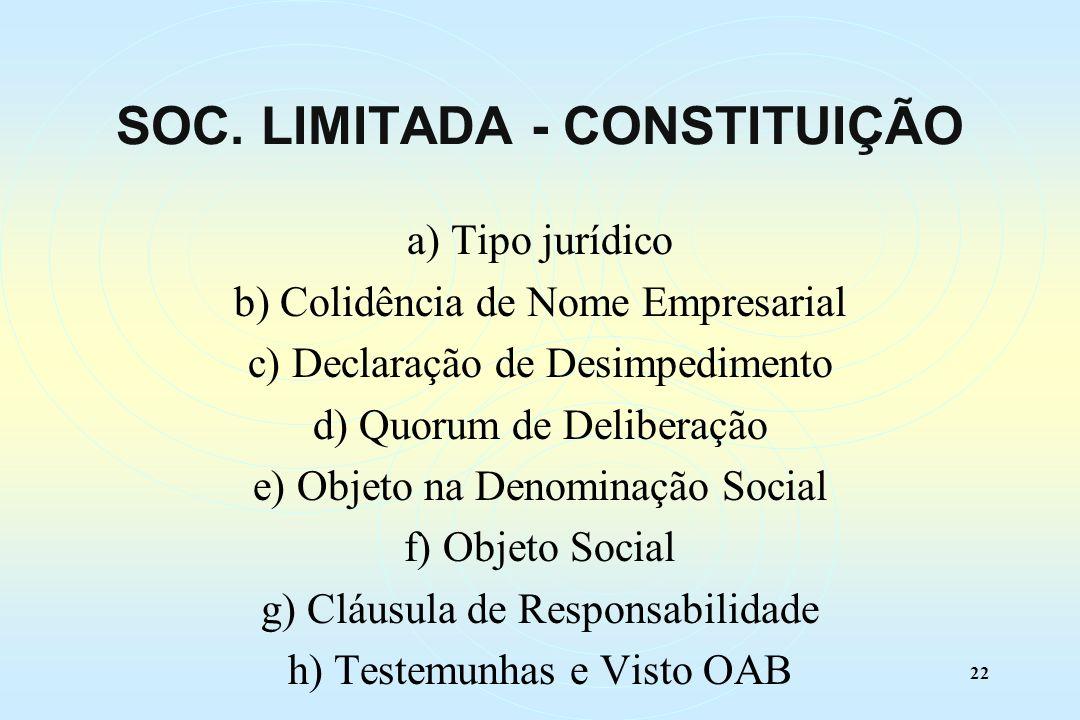 22 a) Tipo jurídico b) Colidência de Nome Empresarial c) Declaração de Desimpedimento d) Quorum de Deliberação e) Objeto na Denominação Social f) Objeto Social g) Cláusula de Responsabilidade h) Testemunhas e Visto OAB SOC.