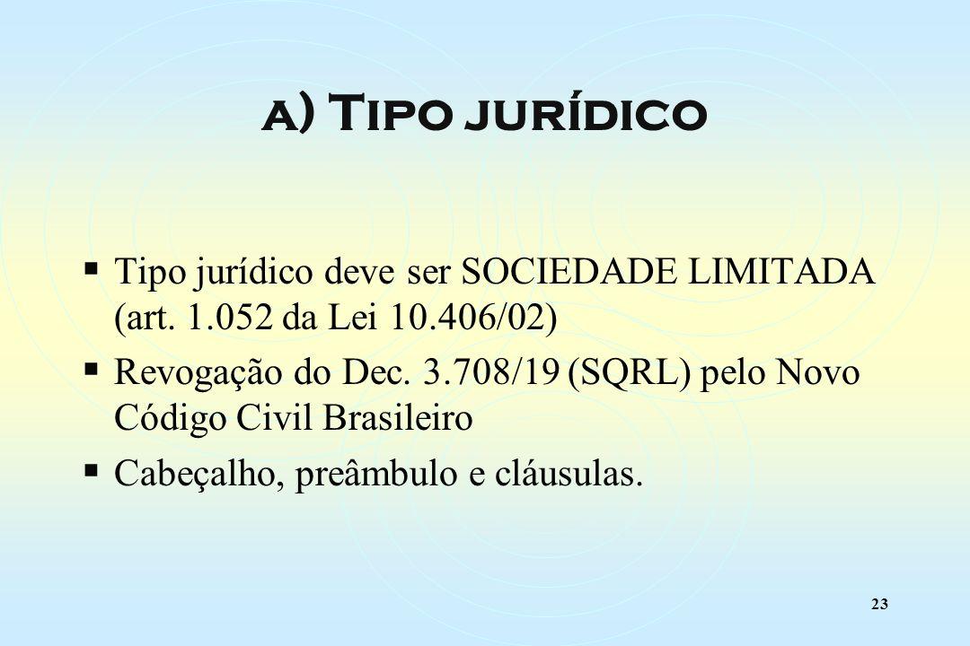 23 Tipo jurídico deve ser SOCIEDADE LIMITADA (art.