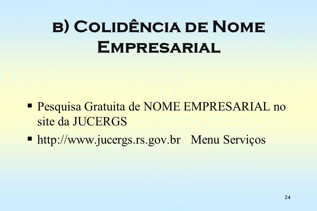 24 Pesquisa Gratuita de NOME EMPRESARIAL no site da JUCERGS http://www.jucergs.rs.gov.br Menu Serviços b) Colidência de Nome Empresarial
