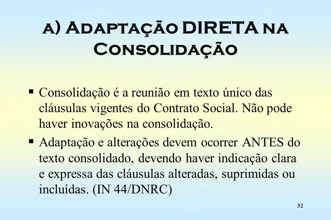 32 Consolidação é a reunião em texto único das cláusulas vigentes do Contrato Social.