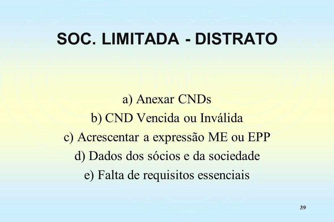 39 a) Anexar CNDs b) CND Vencida ou Inválida c) Acrescentar a expressão ME ou EPP d) Dados dos sócios e da sociedade e) Falta de requisitos essenciais SOC.