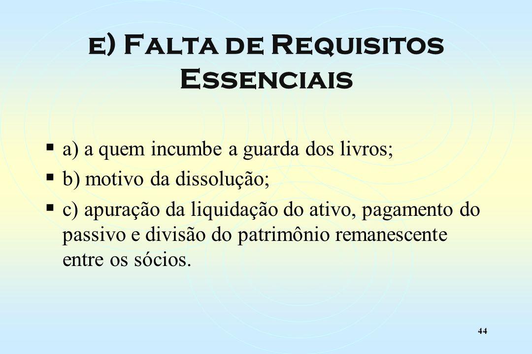 44 a) a quem incumbe a guarda dos livros; b) motivo da dissolução; c) apuração da liquidação do ativo, pagamento do passivo e divisão do patrimônio remanescente entre os sócios.