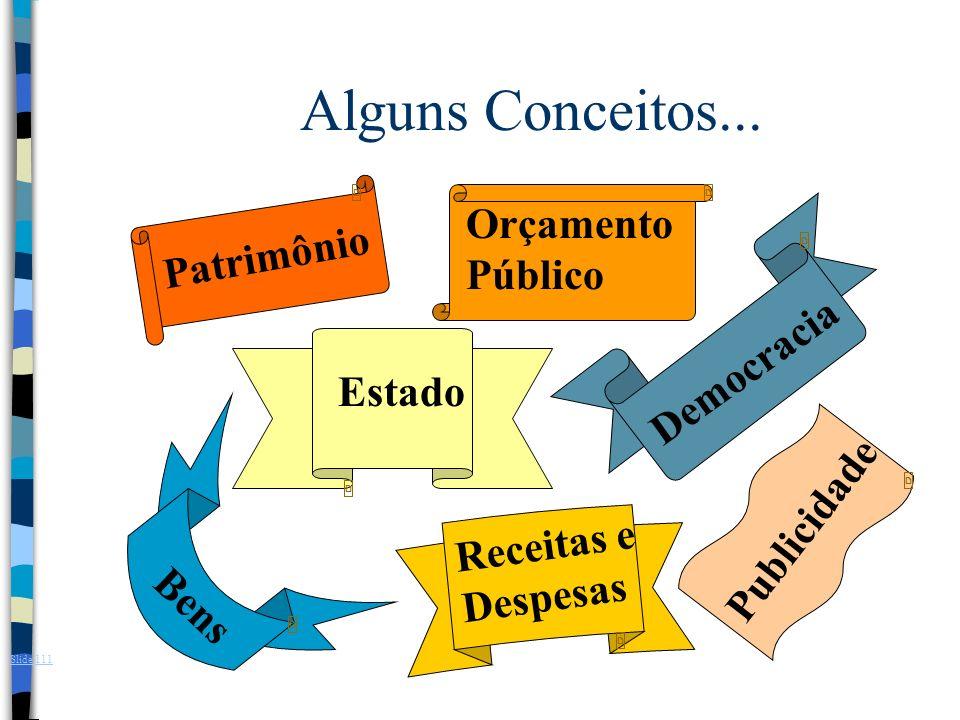 Patrimônio Orçamento Público Alguns Conceitos... Estado Democracia Bens Receitas e Despesas Publicidade Slide 111