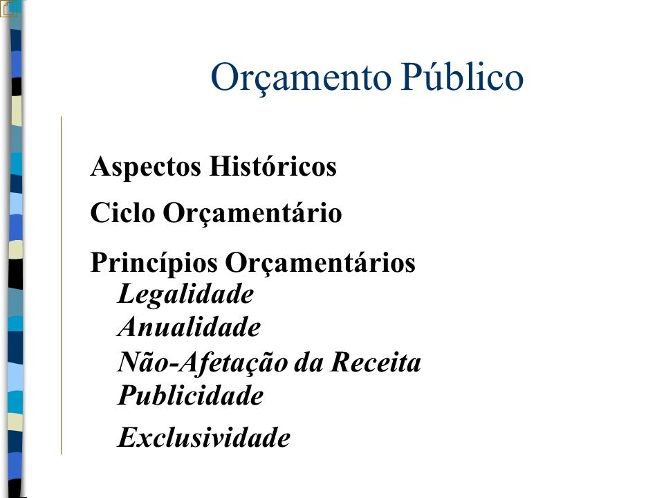 Orçamento Público Aspectos Históricos Ciclo Orçamentário Princípios Orçamentários Anualidade Legalidade Não-Afetação da Receita Publicidade Exclusivid