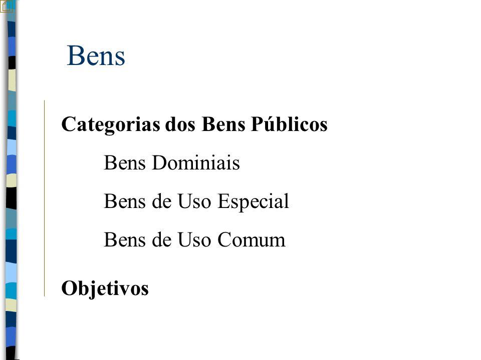Bens Categorias dos Bens Públicos Bens Dominiais Bens de Uso Especial Bens de Uso Comum Objetivos