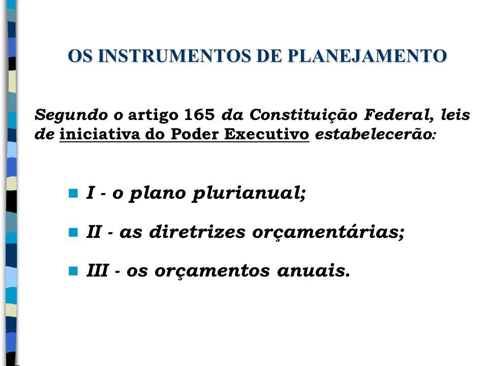 OS INSTRUMENTOS DE PLANEJAMENTO I - o plano plurianual; II - as diretrizes orçamentárias; III - os orçamentos anuais. Segundo o artigo 165 da Constitu