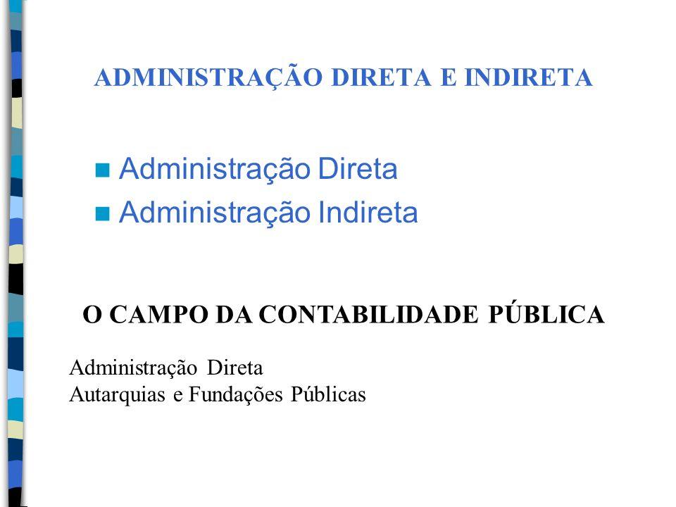ADMINISTRAÇÃO DIRETA E INDIRETA Administração Direta Administração Indireta O CAMPO DA CONTABILIDADE PÚBLICA Administração Direta Autarquias e Fundaçõ