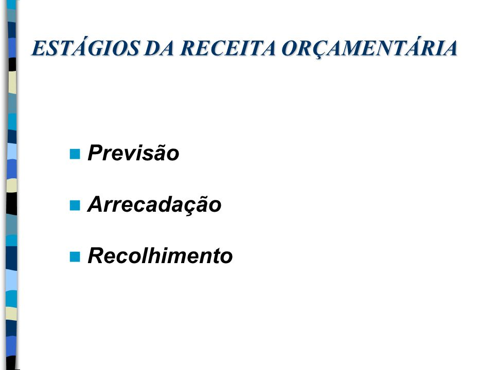 ESTÁGIOS DA RECEITA ORÇAMENTÁRIA Previsão Arrecadação Recolhimento