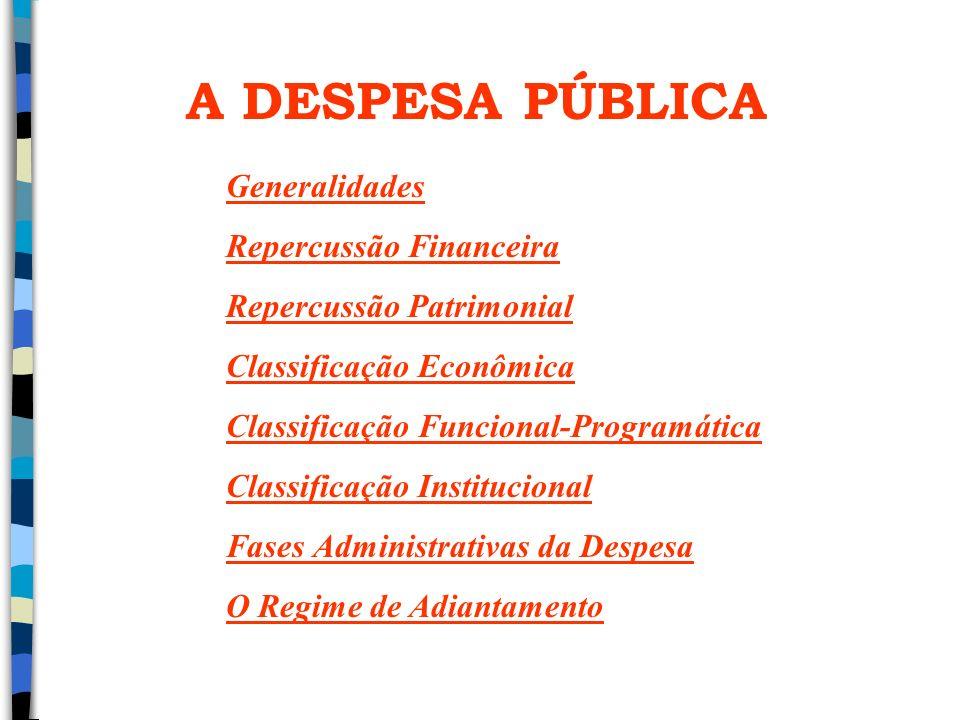 A DESPESA PÚBLICA Generalidades Repercussão Financeira Repercussão Patrimonial Classificação Econômica Classificação Funcional-Programática Classifica