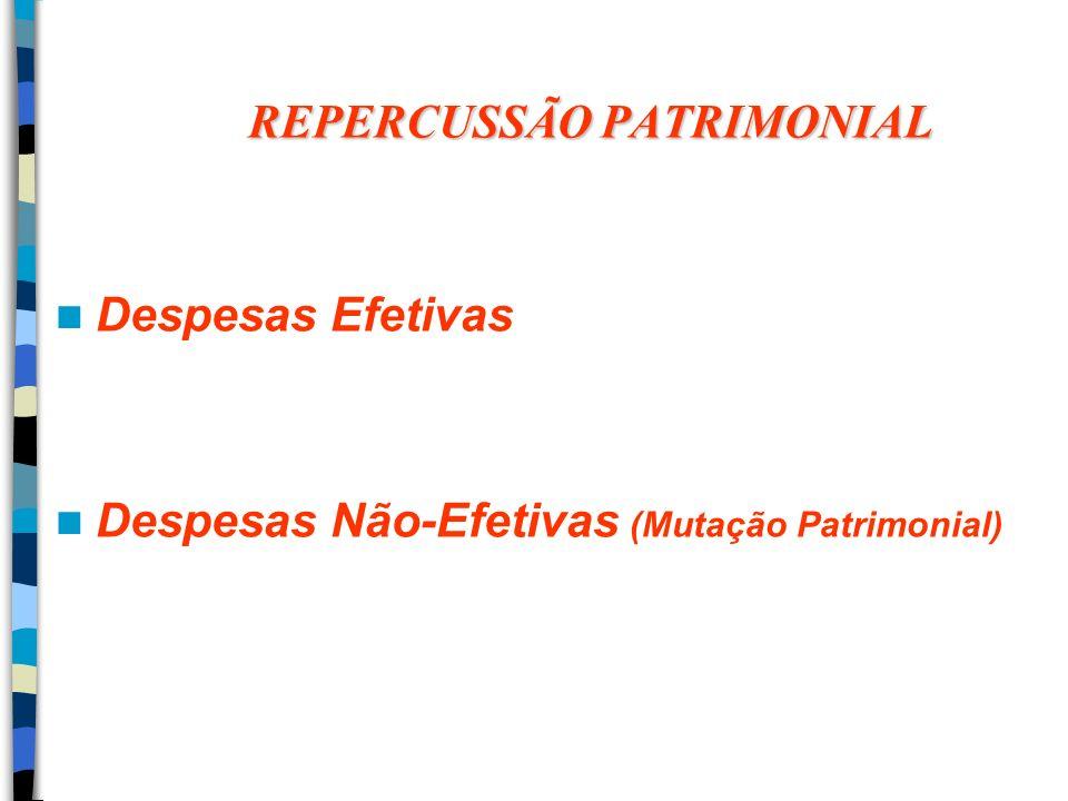 REPERCUSSÃO PATRIMONIAL Despesas Efetivas Despesas Não-Efetivas (Mutação Patrimonial)