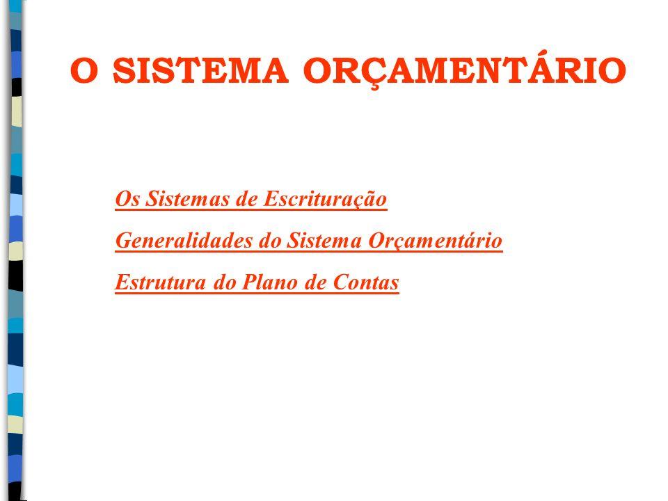 O SISTEMA ORÇAMENTÁRIO Os Sistemas de Escrituração Generalidades do Sistema Orçamentário Estrutura do Plano de Contas