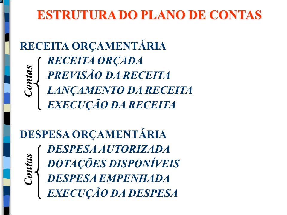 RECEITA ORÇAMENTÁRIA RECEITA ORÇADA PREVISÃO DA RECEITA LANÇAMENTO DA RECEITA EXECUÇÃO DA RECEITA DESPESA ORÇAMENTÁRIA DESPESA AUTORIZADA DOTAÇÕES DIS