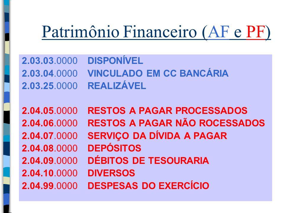 Patrimônio Financeiro (AF e PF) 2.03.03.0000 DISPONÍVEL 2.03.04.0000 VINCULADO EM CC BANCÁRIA 2.03.25.0000 REALIZÁVEL 2.04.05.0000 RESTOS A PAGAR PROC