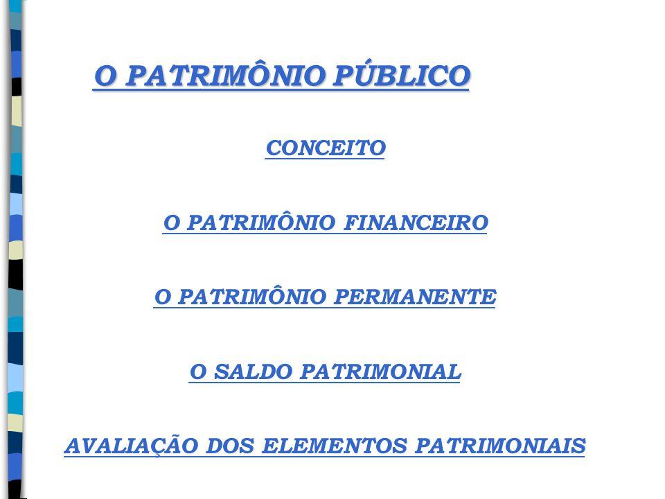O PATRIMÔNIO PÚBLICO CONCEITO O PATRIMÔNIO FINANCEIRO O PATRIMÔNIO PERMANENTE O SALDO PATRIMONIAL AVALIAÇÃO DOS ELEMENTOS PATRIMONIAIS