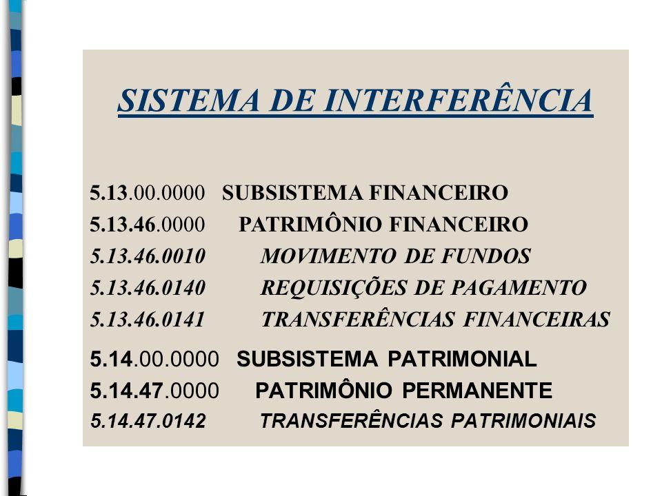 SISTEMA DE INTERFERÊNCIA 5.14.00.0000 SUBSISTEMA PATRIMONIAL 5.14.47.0000 PATRIMÔNIO PERMANENTE 5.14.47.0142 TRANSFERÊNCIAS PATRIMONIAIS 5.13.00.0000