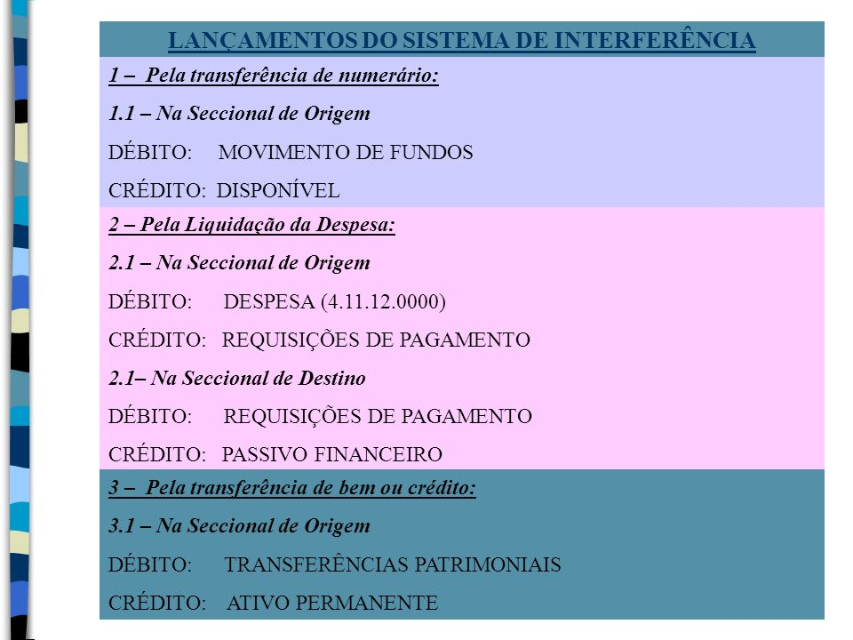 2 – Pela Liquidação da Despesa: 2.1 – Na Seccional de Origem DÉBITO: DESPESA (4.11.12.0000) CRÉDITO: REQUISIÇÕES DE PAGAMENTO 2.1– Na Seccional de Des