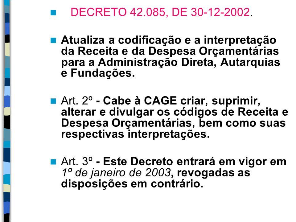 DECRETO 42.085, DE 30-12-2002. Atualiza a codificação e a interpretação da Receita e da Despesa Orçamentárias para a Administração Direta, Autarquias