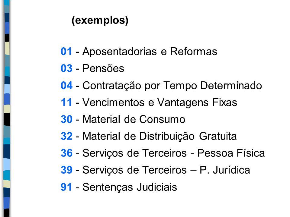 (exemplos) 01 - Aposentadorias e Reformas 03 - Pensões 04 - Contratação por Tempo Determinado 11 - Vencimentos e Vantagens Fixas 30 - Material de Cons