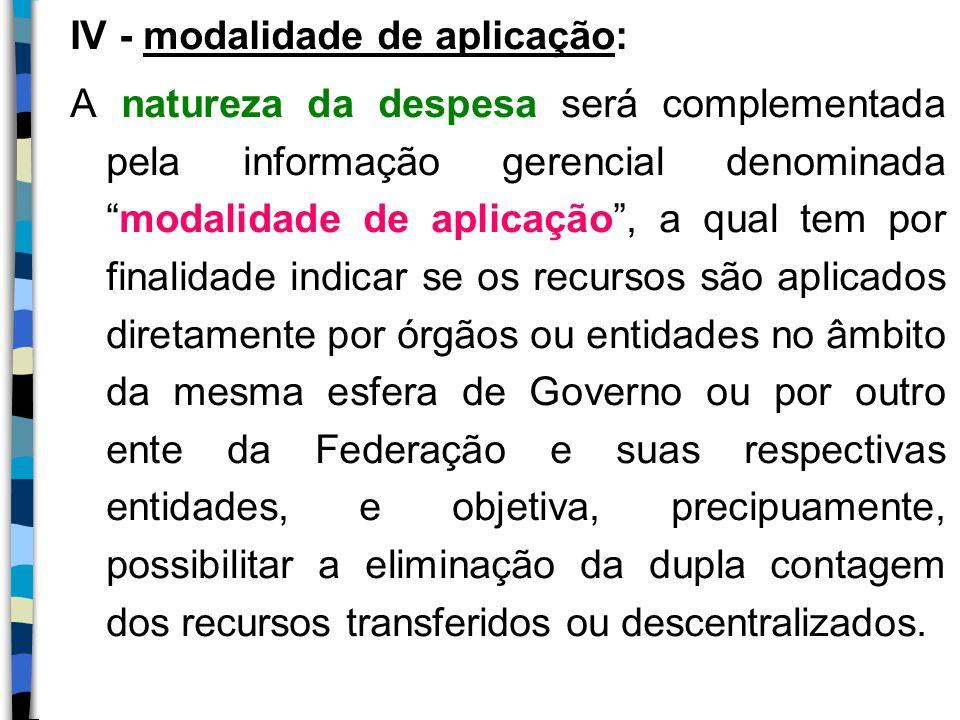 IV - modalidade de aplicação: A natureza da despesa será complementada pela informação gerencial denominadamodalidade de aplicação, a qual tem por fin